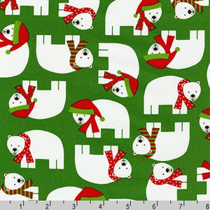 Jingle 3 Polar Bears Green Fabric