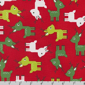 Jingle 3 Cute Reindeer Red Fabric