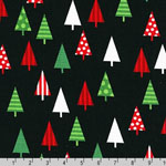 Jingle 4 Christmas Holiday Trees Black Fabric