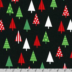 Jingle 4 Christmas Holiday Trees Black Fabric