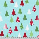 Jingle 4 Christmas Holiday Trees Aqua Fabric