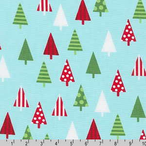 Jingle 4 Christmas Holiday Trees Aqua Fabric