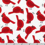 Jingle 4 Christmas Holiday Cardinal Bird White Fabric