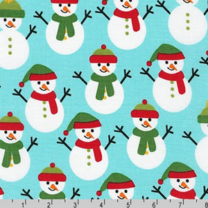 Jingle 4 Christmas Holiday Snowman Aqua Fabric