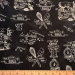 In the Kitchen Toile Fabric Charcoal
