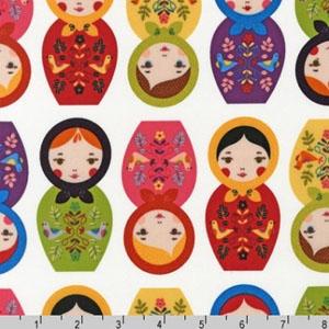 Little Kukla Nesting Dolls Red White Fabric