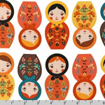 Little Kukla Nesting Dolls Autumn White Fabric