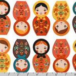Little Kukla Nesting Dolls Autumn White Fabric