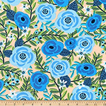 Laguna Jersey Prints Blue Rose Flowers Knit Fabric