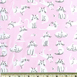 Laguna Jersey Print Cats on Pink Fabric