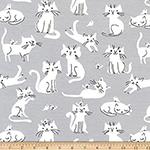 Laguna Jersey Print Cats Dolphin Gray Fabric