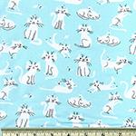 Laguna Jersey Print Cats Aqua Blue Fabric