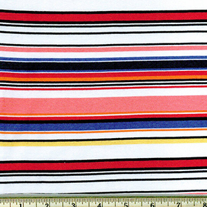 Laguna Jersey Prints Stripe Coral Navy Knit Fabric
