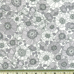 London Calling Gray White Floral Lawn Fabric