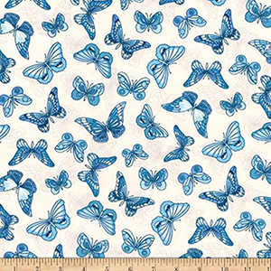 London Calling Lawn Butterfly Blue Fabric