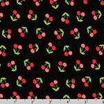 London Calling Cherry Black Lawn Fabric