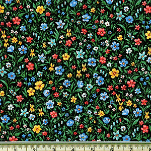 London Calling Multi Colored Flowers Black Lawn Fabric