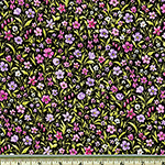 London Calling Purple Flowers Black Lawn Fabric