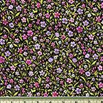 London Calling Purple Flowers Black Lawn Fabric