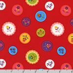 Little Kukla Flower Dots Retro Red Fabric