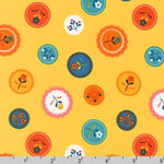 Little Kukla Flower Dots Retro Yellow Fabric