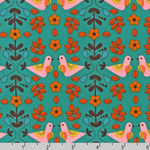 Little Kukla Partridge Love Turquoise Fabric
