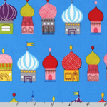 Little Kukla Russian Buildings on Blue Fabric