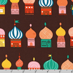 Little Kukla Russian Buildings on Brown Fabric