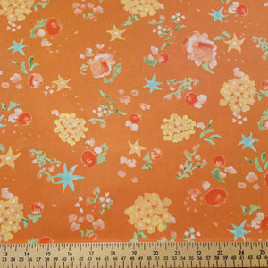 Woodland Clearning Scatter Flowers Copper Fabric