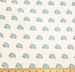Little Safari Knit Elephants Aqua Blue Fabric