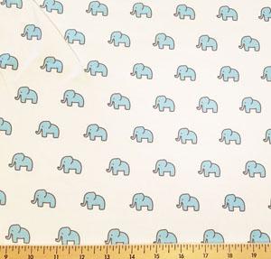 Little Safari Knit Elephants Aqua Blue Fabric