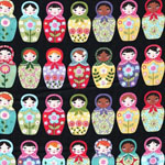 Matryoshka Doll Fabric on Black
