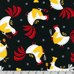 Metro Market Chicken Apron Fabric Black