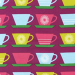 Happy Home Coffee Tea Cups Pink Fabric