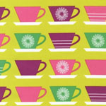 Happy Home Coffee Tea Cups Meadow Fabric
