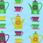 Happy Home Coffee Pots Meadow Blue  Fabric