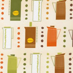 Metro Cafe Coffee Pots Bean Retro Fabric