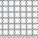 Metro Living Interlocking Circles Black White Fabric