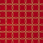 Metro Living Metallic Interlocking Circles Red Fabric