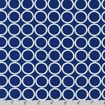 Metro Living Circle Navy Blue White Fabric