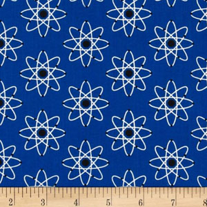 Mod Geek Atoms Retro Blue Fabric