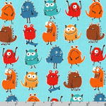 Monsters on Blue Fabric