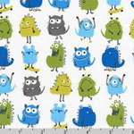 Monsters Green Blue Gray Fabric