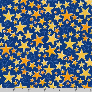Monsters Yellow Stars on Blue Fabric