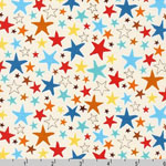 Monsters Stars in Multi on White Fabric