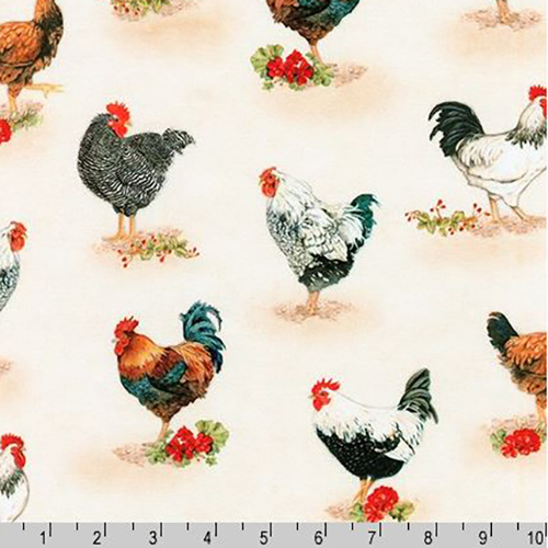 Down on the Farm Chicken Rooster Fabric