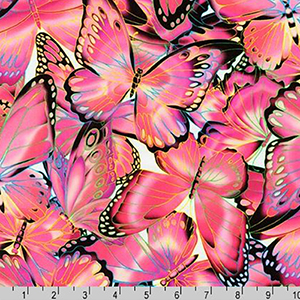 Nature Studies Butterfly Pink Fabric
