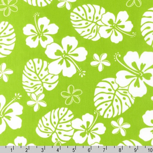 Paradise Pareaus 2 Green White Fabric