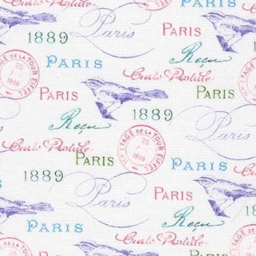 Paris in Bloom White Fabric