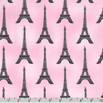 Slicker Paris Panache Eiffel Tower Pink Fabric